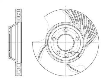 Вентилируемый передний тормозной диск на PORSCHE PANAMERA 'ROADHOUSE 6769.10'.