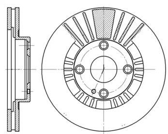 Вентилируемый передний тормозной диск на Мазда БТ 50 'ROADHOUSE 6812.10'.