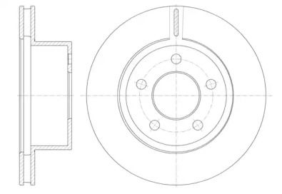 Вентилируемый передний тормозной диск на JEEP CHEROKEE 'ROADHOUSE 6886.10'.