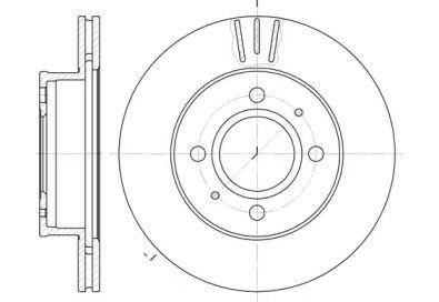Вентилируемый передний тормозной диск на HYUNDAI ATOS 'ROADHOUSE 6927.10'.