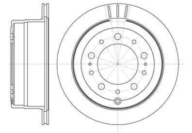 Вентилируемый задний тормозной диск на TOYOTA LAND CRUISER 'ROADHOUSE 6948.10'.