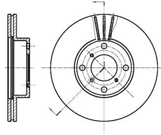 Вентилируемый передний тормозной диск на Сузуки Лиана 'ROADHOUSE 6950.10'.