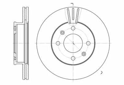 Вентилируемый передний тормозной диск на Хендай Гетц 'ROADHOUSE 6958.10'.