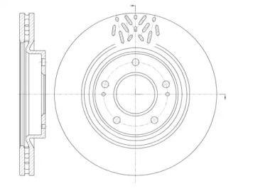 Вентилируемый передний тормозной диск на Митсубиси Грандис 'ROADHOUSE 6996.10'.