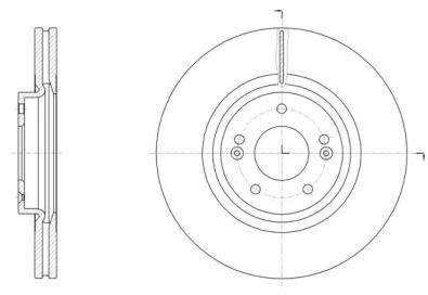 Вентилируемый передний тормозной диск на Хендай Гранд Санта Фе 'ROADHOUSE 61514.10'.