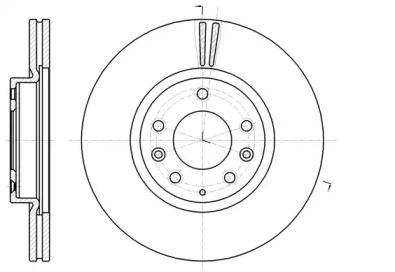 Вентилируемый передний тормозной диск 'REMSA 61235.10'.