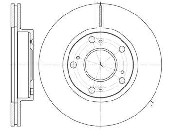 Вентилируемый передний тормозной диск на Хонда ЦРЗ 'REMSA 61263.10'.