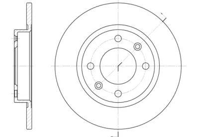 Задний тормозной диск на Пежо 405 'REMSA 6136.00'.