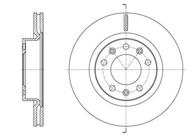 Вентилируемый передний тормозной диск на Пежо 308 'REMSA 61584.10'.
