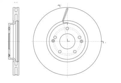 Вентилируемый передний тормозной диск на Санг Йонг Актион Спорт 'REMSA 61663.10'.