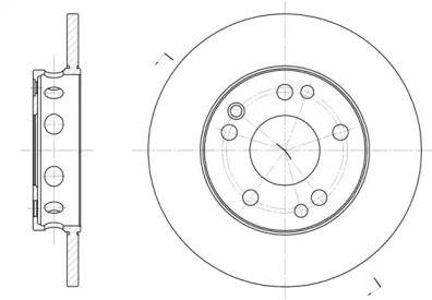 Передний тормозной диск на Мерседес 190 'REMSA 6221.00'.
