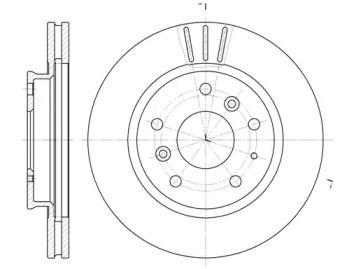 Вентилируемый передний тормозной диск на Форд Проба 'REMSA 6237.10'.