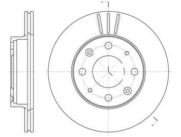Вентилируемый передний тормозной диск на HONDA CRX 'REMSA 6368.10'.