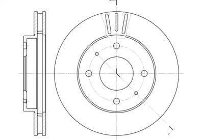 Вентилируемый передний тормозной диск на MITSUBISHI SPACE STAR 'REMSA 6394.11'.