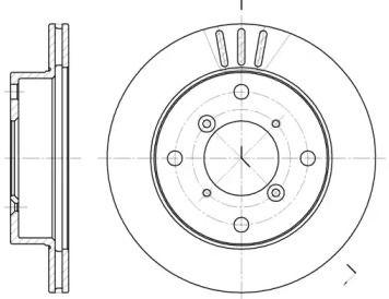 Вентилируемый передний тормозной диск на Сузуки Альто 'REMSA 6399.10'.