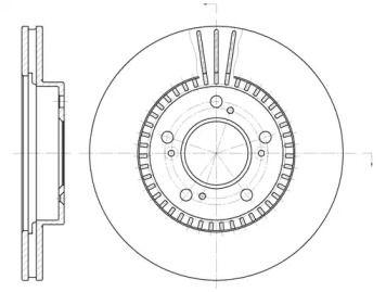 Вентилируемый передний тормозной диск на Хонда Прелюд 'REMSA 6586.10'.