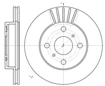 Вентилируемый передний тормозной диск на TOYOTA YARIS 'REMSA 6618.10'.