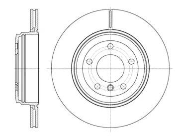 Вентилируемый задний тормозной диск на BMW 6 'REMSA 6654.10'.