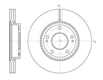 Вентилируемый передний тормозной диск на HYUNDAI TIBURON 'REMSA 6663.10'.