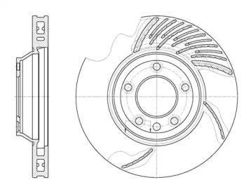 Вентилируемый передний тормозной диск на PORSCHE PANAMERA 'REMSA 6769.11'.
