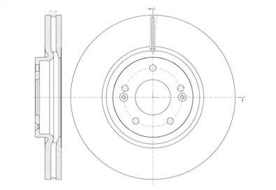 Вентилируемый передний тормозной диск на HYUNDAI IX55 'REMSA 61462.10'.
