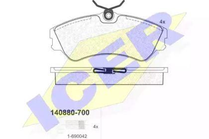 Гальмівні колодки ICER 140880-700.