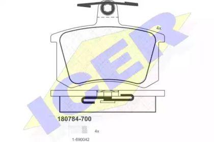 Тормозные колодки 'ICER 180784-700'.