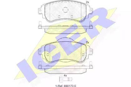 Тормозные колодки 'ICER 182027'.