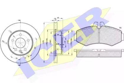 Комплект тормозных дисков и колодок 'ICER 31288-6380'.