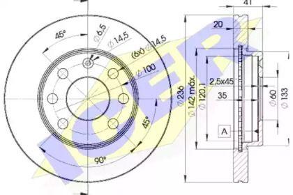 Вентилируемый тормозной диск 'ICER 78BD1440-2'.