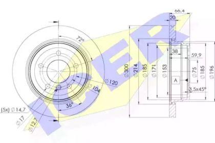 Вентилируемый тормозной диск 'ICER 78BD1974-2'.