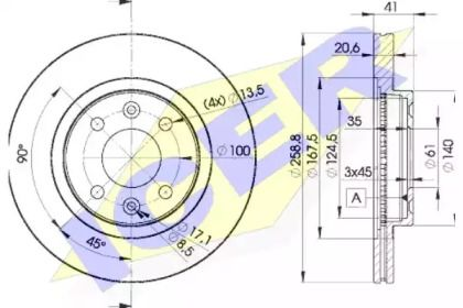 Вентилируемый тормозной диск 'ICER 78BD3550-2'.