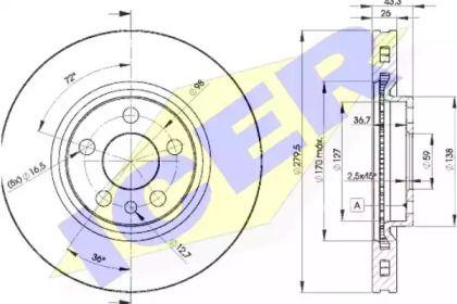 Вентилируемый тормозной диск на CITROEN JUMPER ICER 78BD4620-2.