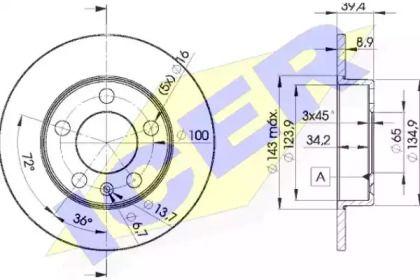 Тормозной диск на SKODA OCTAVIA A5 ICER 78BD5601-2.
