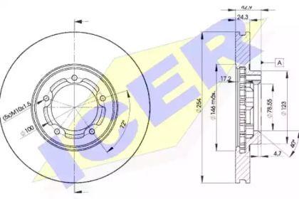 Вентилируемый тормозной диск 'ICER 78BD5610-2'.