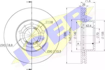 Вентилируемый тормозной диск 'ICER 78BD5622-2'.