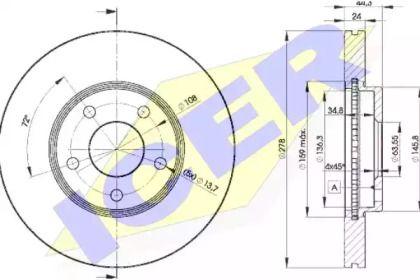 Вентилируемый тормозной диск 'ICER 78BD5980-2'.