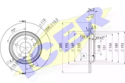 Тормозной диск на Ауди А5 'ICER 78BD6075-2'.