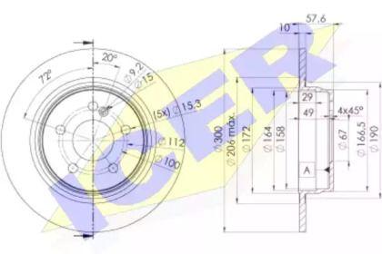 Гальмівний диск на Мерседес W212 ICER 78BD6474-2.