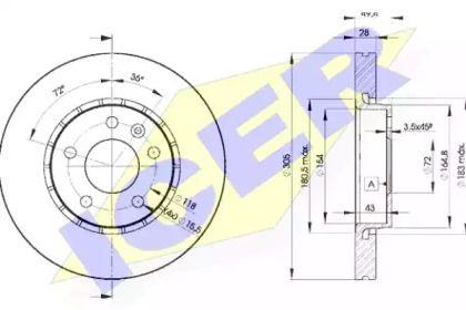 Вентилируемый тормозной диск 'ICER 78BD6845-2'.