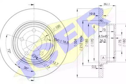Вентилируемый тормозной диск 'ICER 78BD6849-2'.