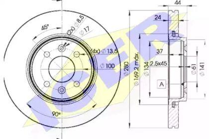 Вентилируемый тормозной диск на Рено Сценик 'ICER 78BD7829-2'.