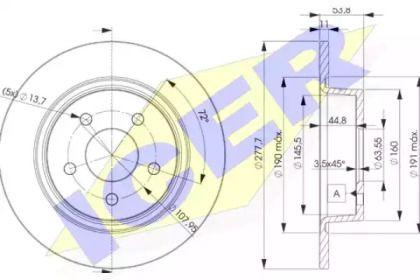 Тормозной диск на FORD TRANSIT CONNECT 'ICER 78BD7989-2'.