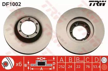 Вентилируемый тормозной диск на Опель Арена 'TRW DF1002'.