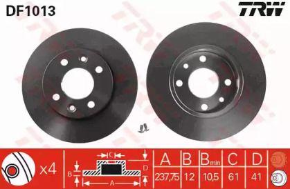 Тормозной диск на RENAULT EXPRESS 'TRW DF1013'.