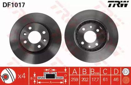 Вентилируемый тормозной диск на RENAULT ESPACE 'TRW DF1017'.