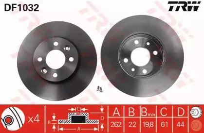 Вентилируемый тормозной диск на Рено Сафран 'TRW DF1032'.