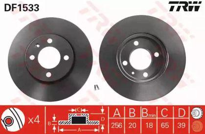 Вентилируемый тормозной диск на VOLKSWAGEN GOL 'TRW DF1533'.