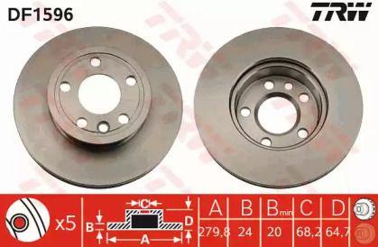 Вентилируемый тормозной диск на VOLKSWAGEN KOMBI 'TRW DF1596'.