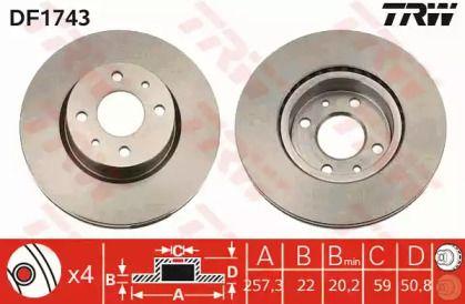 Вентилируемый тормозной диск на ALFA ROMEO 164 'TRW DF1743'.
